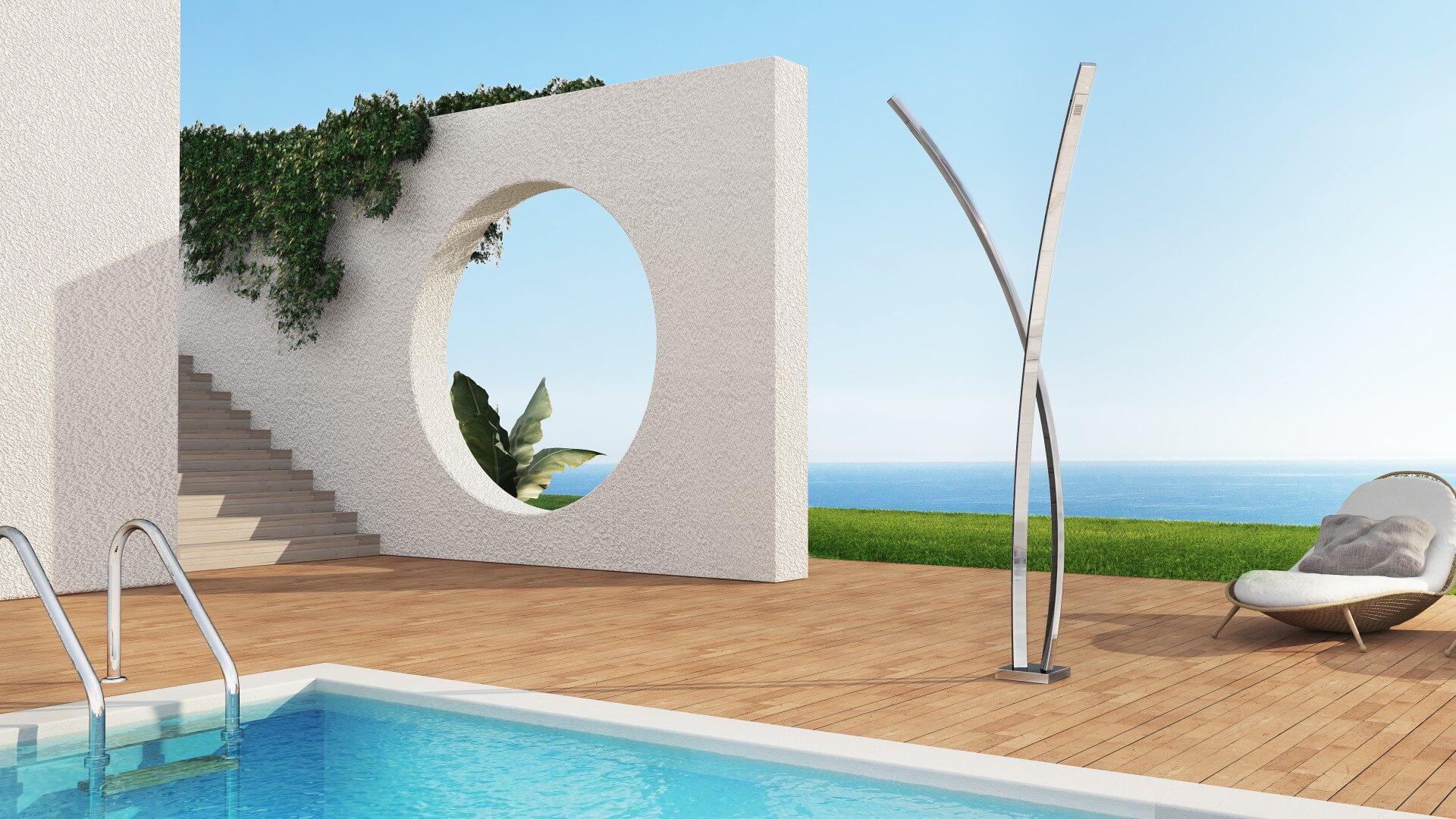 Photo douche extérieure, piscine, jardin - Preludio Inoxstyle