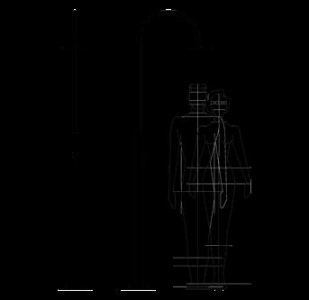 Technische Zeichnung Außendusche, Pool, Garten - Aria Cylinder Inoxstyle