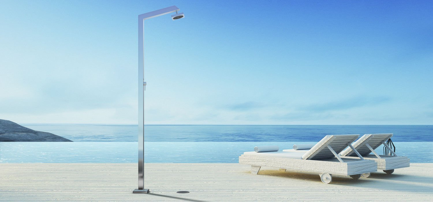 Picture Outdoor shower, pool, garden - Tecno Cube Inoxstyle